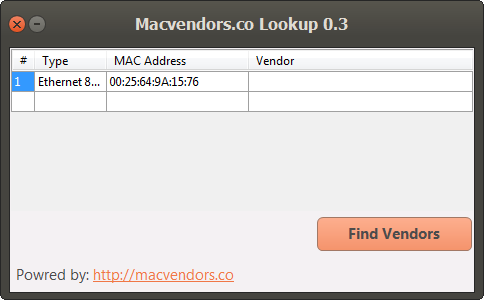 NIC vendor lookup Application