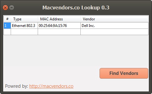 Macvendors.co Lookup Screen shot
